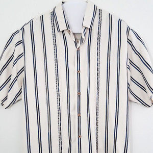 Tommy Bahama Mens Shirt Silk Button Front Large